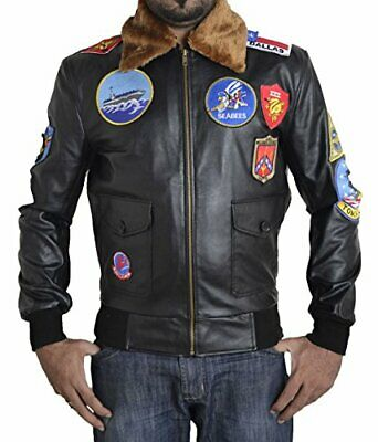 New Tom Cruise Top Gun Military Black Leather Jacket with Fur Collar and Patches