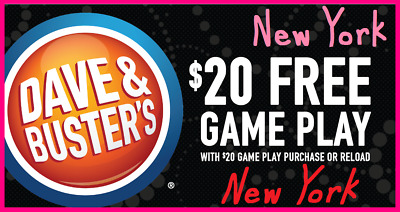 ⭐️ Lot of 6 Dave & Buster's BUY $20 GET $20 GAME PLAY ᶜᵒᵘᵖᵒⁿˢ 💙 NEW YORK ⭐ (NY)