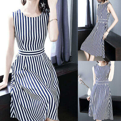 Mid-calf Sleeveless Striped Pattern Dating Fashion Women Dress Polyester Stylish