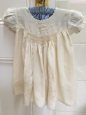 Vintage Silk Baby Dress With Silk Embroidery & Smocking