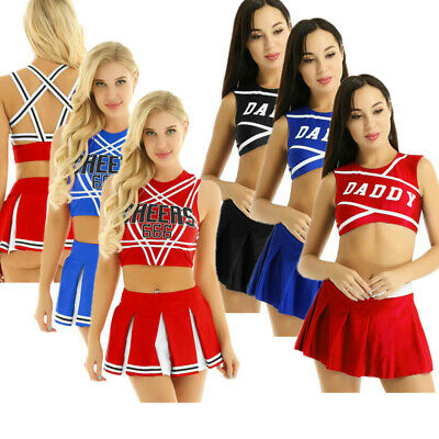 Women Cheerleader Uniform Fancy Dress Outfit Cosplay Crop Top Mini Pleated Skirt