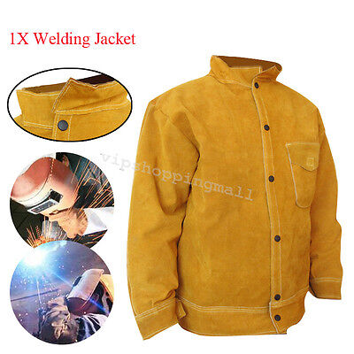 Yellow Cowhide Leather Welder WELDING JACKET Leather Protective Flip-up Collar