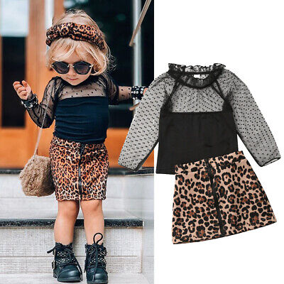 Toddler Kids Baby Girl Leopard print Clothes Tops T Shirt Skirt Tracksuit Outfit