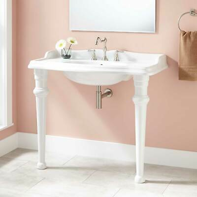 """Signature Hardware 41"""" Janson Porcelain Console Sink with 8"""" Centers in White"""