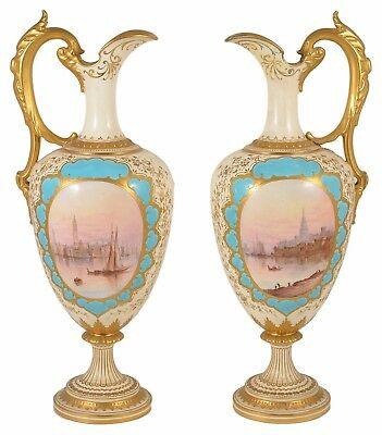 LARGE COALPORT PAIR OF EWERS BY ARTHUR BOWDLER FRENCH VIEWS Circa 1891