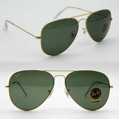 58mm Ray-Ban aviator new sunglasses for men, women classic green / gold RB3025