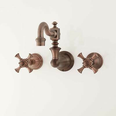 Vintage Wall Mount Kitchen Faucet with Cross Handles in Oil Rubbed Bronze