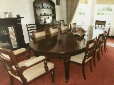 Original Antique Mahogany Victorian Dining Table and 10 Chairs Circa 1890