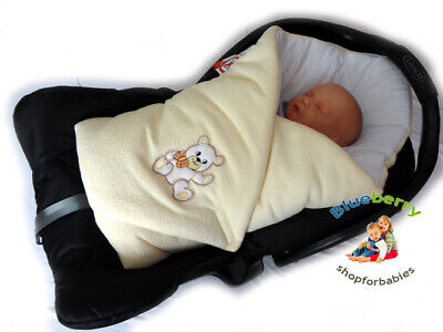 BlueberryShop Fleece Baby Swaddle Wrap Car Seat Blanket | Sleeping Bag white