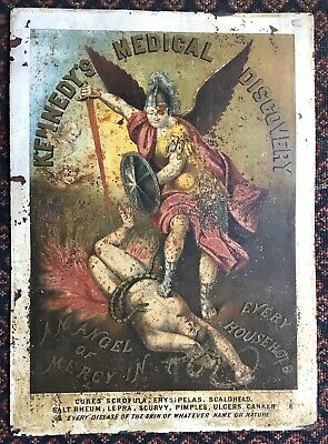 Vtg Tin Lithograph Advertising Sign Kennedy's Medical Discovery Quackery SNAKES