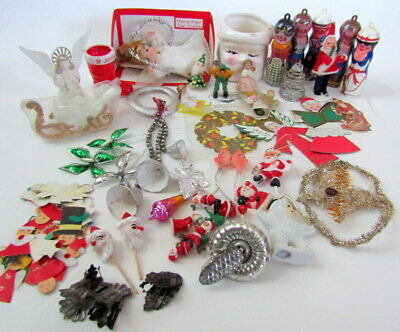 Vintage Christmas Lot ~ Decorations Spun Cotton Pick Germany Angel Bradford