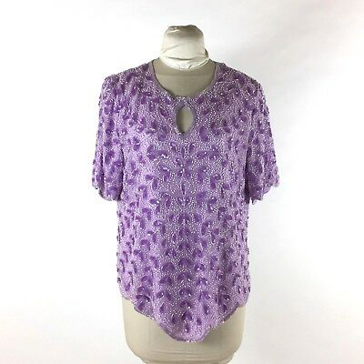 Vtg Jean For Joseph Le Bon Lavender Purple Floral Blouse 16 Sequin Beaded Silk