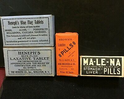 Antique Medicine Lot Of 4 Bottles / Boxes: All Sealed Unopened W/ Full Contents