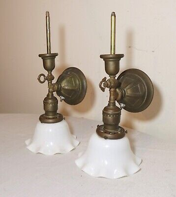 pair 1800's antique Victorian ornate gilt brass glass electric & gas wall sconce
