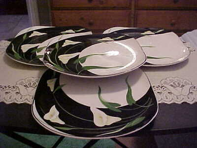 Sango Quadrille Square  #5101 Black Lilies Dinner Plates Set Of 4