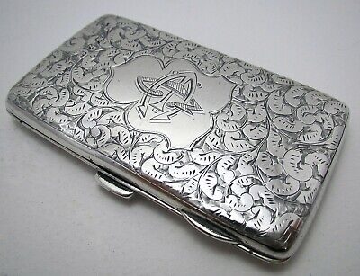 Rare Victorian Sterling Silver Antique STAMP CASE, Wallet Card Cigarette Purse