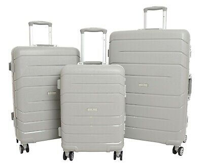 Exclusive Metal Frame 4 Wheel Suitcase Grey Solid Hard Shell Luggage Travel Bags
