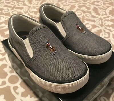 Toddler Boys Polo Ralph Lauren Grey Bal Harbor II Slip On Shoes Size 8 1/2
