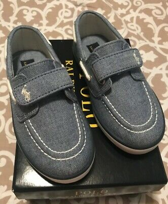 NWB Toddler Boys Polo Ralph Lauren Blue Chambray Sander EZ Shoe Size 8 1/2