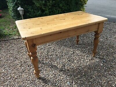 Farmhouse dining table solid pine 4ft 6 inches kitchen shabby chic waxed