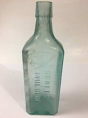 SCOTTS EMULSION Vintage Aqua Bottle Cod Liver Oil Lime Soda Antique