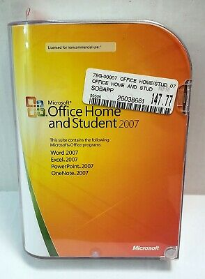 Microsoft OFFICE HOME and STUDENT Word Excel PowerPoint OneNote 2007 w/ Key