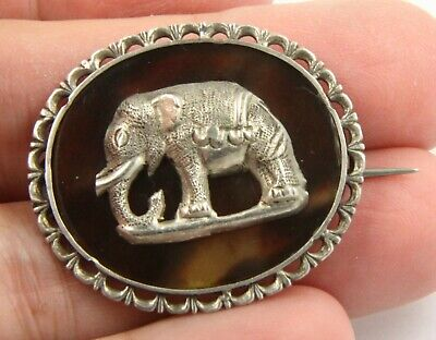 Antique Victorian Edwardian c 1910 silver Elephant brooch pin