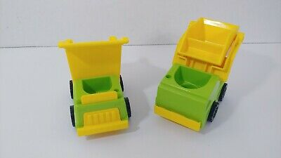 vintage fisher price little people yellow green dump truck front loader set lot