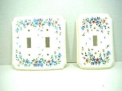 Set 2 Single Double Light Switch Plate Covers Floral Pink Blue Vintage 1970s
