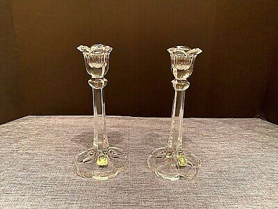 "Crystal Pair 8"" Candle Stick Holders NEW Ebeling & Reuss German GOLDEN CROWN"