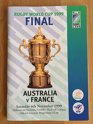 1999 Rugby World Cup Final Australia v France programme sign Lawrence Dallaglio