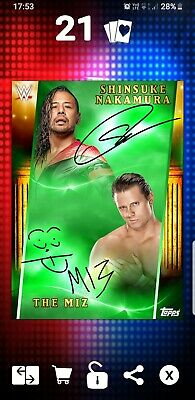 Topps WWE Slam Digital Card Nakamura Miz COC 2019 green signature