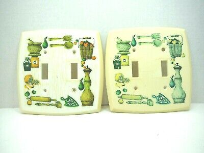 Set 2 Double Light Switch Covers Plate Fruit Kitchen Green Orange Vintage 1970s