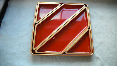 Lacquerware Red Gilded  Serving Tray And Platters Made For Liberty Of London