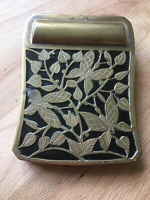 Vintage Brass Butterfly Design Ornate Compact Make Up Lipstick Powder Case VGC