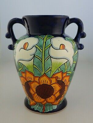 Mexican Ceramic Decorative Vase Folk Art Pottery Handmade Talavera # 09