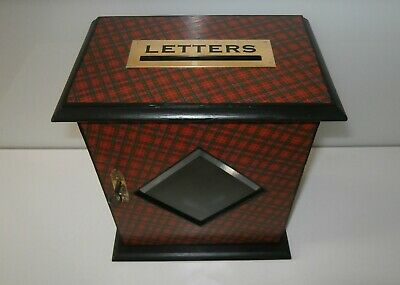 Grand Antique Tartan Ware Country House Letter Box Royal Stuart Clan c1890-00