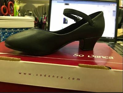 New So Danca, CH 50, Black, Ladies, Dance, Buckle Size 5 W Character  Shoes