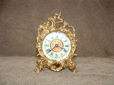Rare Old Petite Antique Brass Wind Up Parlor Mantel Clock Works & Tells Time !!
