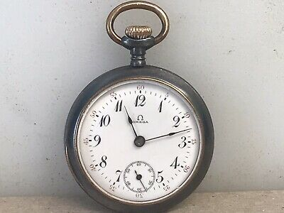 Vintage Omega Pocket Watch Stainless & Gold Trim 15 Jewels Swiss Windup