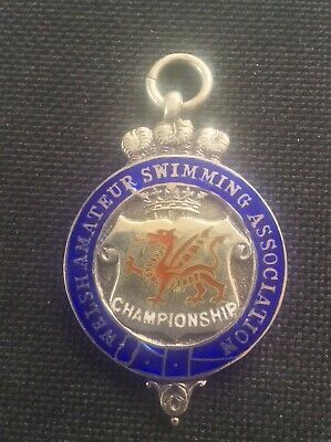 1937 Silver Enamel FOB English Amateur Swimming Assn Cardiff Police Water Polo