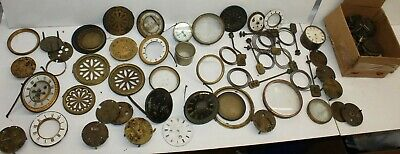 HUGE LOT Clock Maker Repair Chimes Brass Movement Enamel Dial Bezel Glass Door