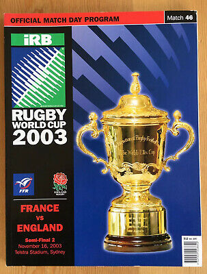 2003 Rugby World Cup England v France Semi-final programme excellent condition