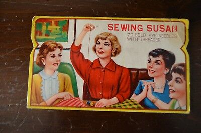 Vintage Sewing Susan Needles -70 Gold Eye Needles With Threader