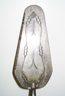Vintage Italy Ep Zinc Cake Knife Silverplated Engraved Design Nr