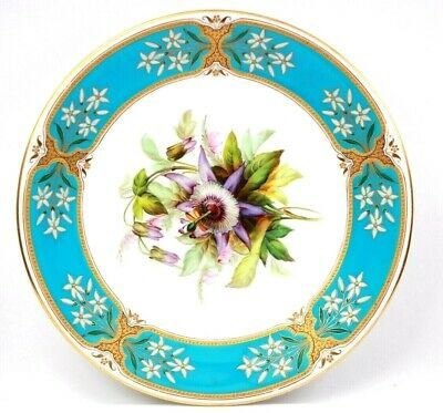 Antique Royal Worcester Tiffany and Co Flower Centre Turquoise Ground Circa 1870