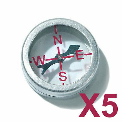 5 x 20mm Button Compass - Aluminium Glass - Clear Front & Rear Military Survival