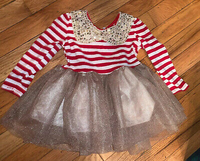 Baby Girls Red White Stripe Holiday Gold TuTu Lined Crochet Sequins Collar 12-18