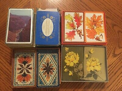 Vintage~DBL DECK Hallmark PLAYING CARDS LOT~Old World Charm~Leaves~ROSES+MORE
