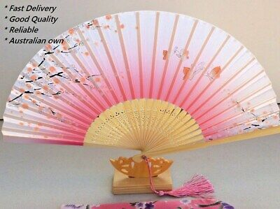 Silk Hand Fan - Cherry blossom n Sakura with Silk Fan Holder SSF001